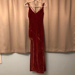 FOR LOVE AND LEMONS VELVET MAXI DRESS WITH SLIT